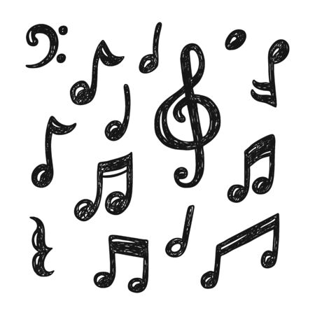 Set of hand drawn music note doodles Vettoriali