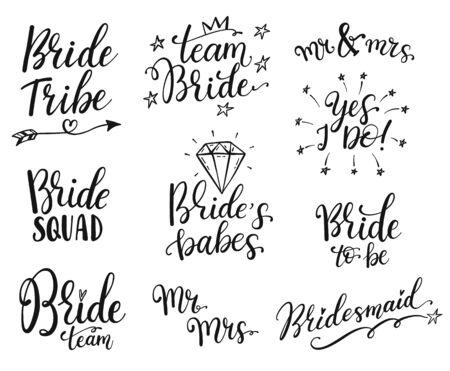 Team bride calligraphy lettering vector hen party, bachelorette wedding design