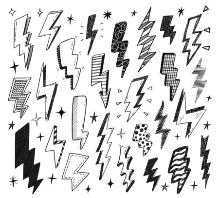 Set of hand drawn doodle thunderbolts. Vector design elements isolated on a white background