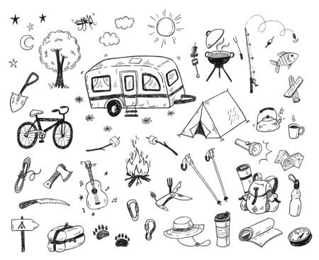 Hand drawn doodle camping vector elements, icons set with bonfire, adventure, hiking and touristic equipment