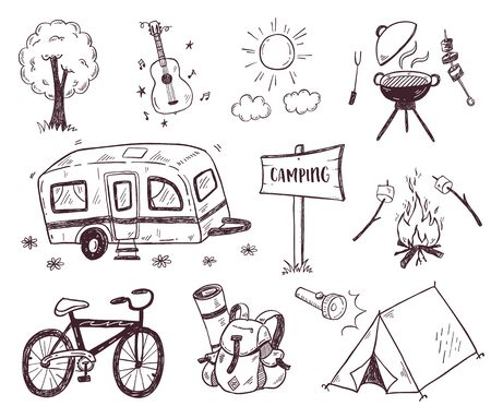 Hand drawn doodle camping vector elements, icons set with bonfire, adventure, hiking and touristic equipment Vecteurs