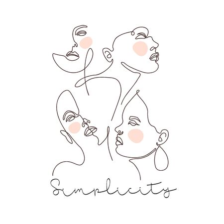 Modern abstract faces. Contemporary female silhouettes. Hand drawn outline trendy illustration. Continuous line, minimalistic concept. Pastel colors 矢量图像