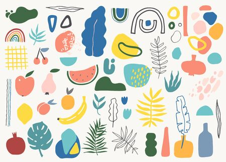 Big set of tropic leaves, fruits, pottery and abstract shapes in modern contemporary collage style. 矢量图像