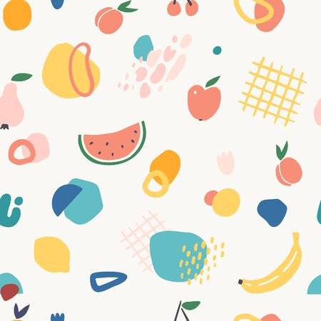 Seamless pattern with fruits and abstract shapes in modern contemporary collage style.