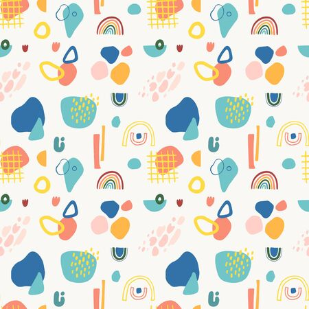 Seamless vector pattern with abstract shapes in modern contemporary collage style.