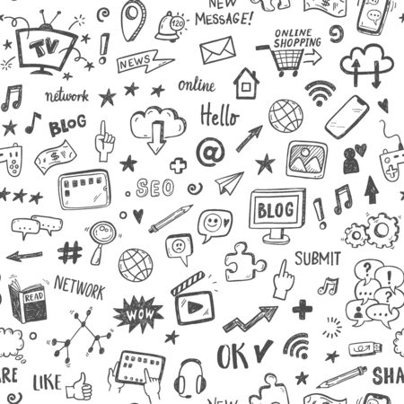 Social media sketch vector seamless doodle pattern.