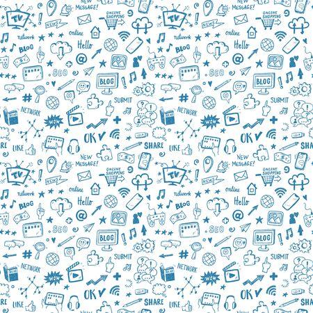 Social media sketch vector seamless doodle pattern.