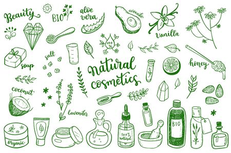 Natural cosmetic, spa and self care doodle design elements set