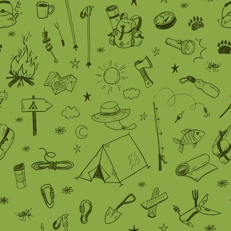 Hand drawn doodle camping vector elements seamless pattern with bonfire, adventure, hiking and touristic equipment