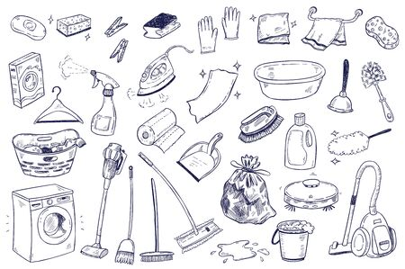 House and home cleaning themed doodle set. Various equipment, tools and facilities for washing, dusting, cleaning.