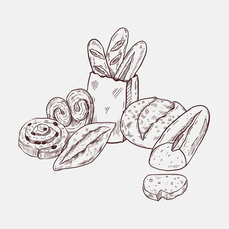 Bakery sketch set, hand drawn food illustration, doodle vector bread and pastry