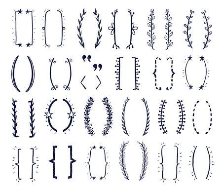 hand drawn doodle brackets vector set. Parentesis design Illustration