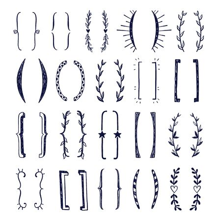 hand drawn doodle brackets vector set. Parentesis design Vector Illustration