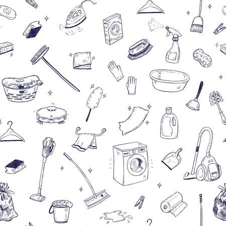 Seamless vector pattern with cleaning service doodles