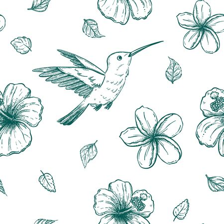 Seamless vector pannern with hand drawn hummingbirds and tropical flowers