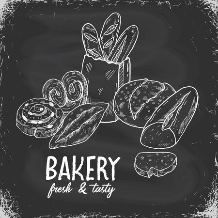 Bakery sketch illustration on a chalkboard background hand drawn food illustration, doodle vector bread and pastry