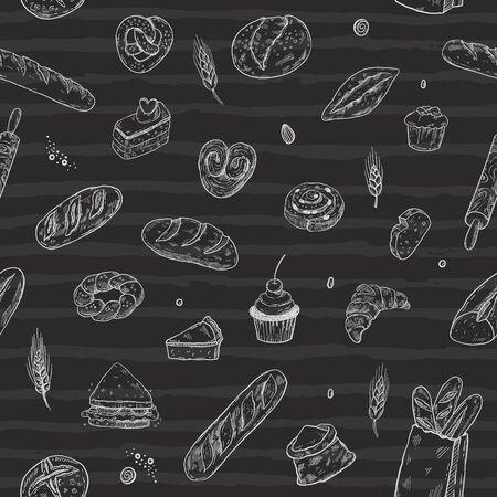 Hand drawn bakery seamless pattern, doodles elements on a blackboard background. Vector sketchy illustration 矢量图像
