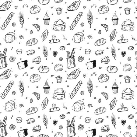 Hand drawn bakery seamless pattern, doodles elements background. Vector sketchy illustration 矢量图像