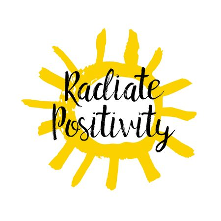 Radiate Positivity hand lettering quote with yellow sun, print design 矢量图像
