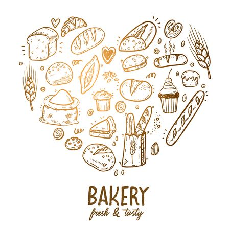 Vector illustration for bakery shops. Heart shape composition from hand drawn bread in sketch style. Fresh bread poster concept.