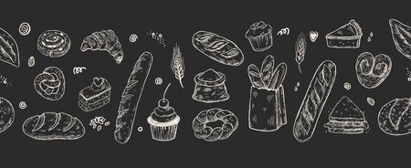 Hand drawn seamless banner with hand drawn doodle bread, vector illustration, panoramic composition for bakery shop.