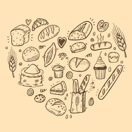 Vector illustration for bakery shops. Heart shape composition from hand drawn bread in sketch style. Fresh bread poster concept. 矢量图像