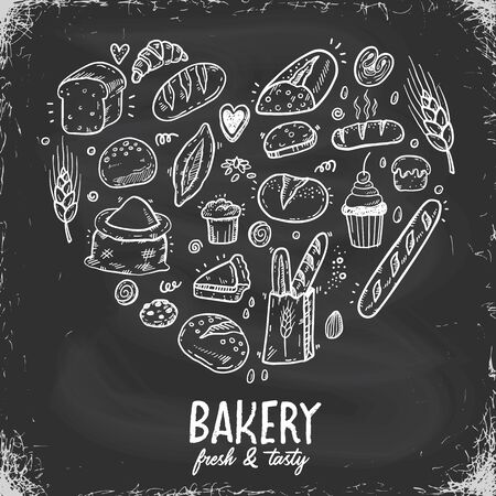 Vector illustration for bakery shops on a blackboard. Heart shape composition from hand drawn bread in sketch style. Fresh bread poster concept.