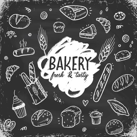 Hand drawn doodle bakery vector set on a vintage chalkboard background. Fresh Bread, food, pastry sketch illustration, icons. 向量圖像