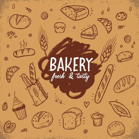 Hand drawn doodle bakery vector set on a vintage background. Fresh Bread, food, pastry sketch illustration, icons. 向量圖像