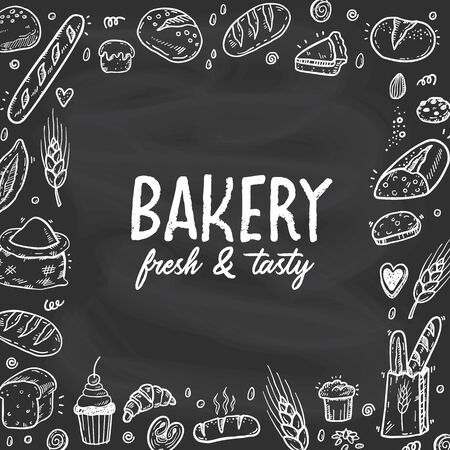 Vector illustration for bakery shops on a blackboard. Square frame composition from hand drawn bread in sketch style. Fresh bread poster concept. 向量圖像