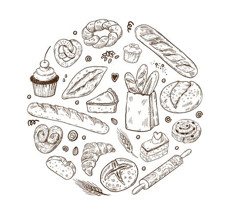 Vector illustration for bakery shops. Round shape composition from hand drawn bread in sketch style. Fresh bread poster concept.