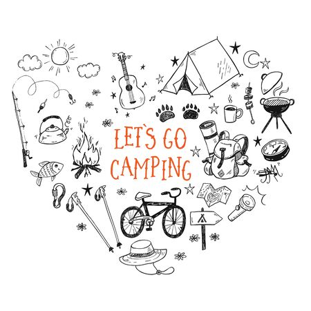 Lets go camping vector illustration with hand drawn camp doodles. Touristic equipment, live on nature concept. 矢量图像