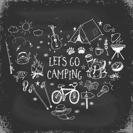 Lets go camping vector illustration with hand drawn camp doodles on a chalkboard background. Touristic equipment, live on nature concept.
