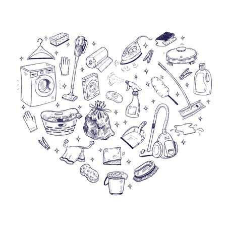Vector doodle illustration of cleaning equipment in a heart shape