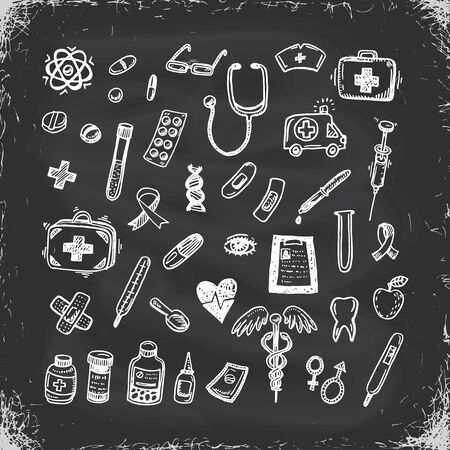 Healthcare and Medicine Vector Set. Hand Drawn Doodle Health items. Drugs and Medical Products and Devices. 矢量图像