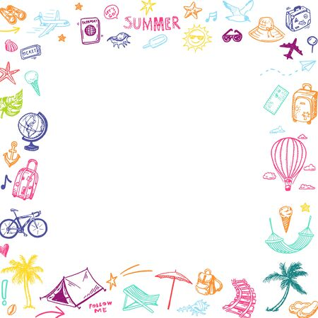 Hand drawn summer holiday, vacation elements square frame. Doodle Travel collection.