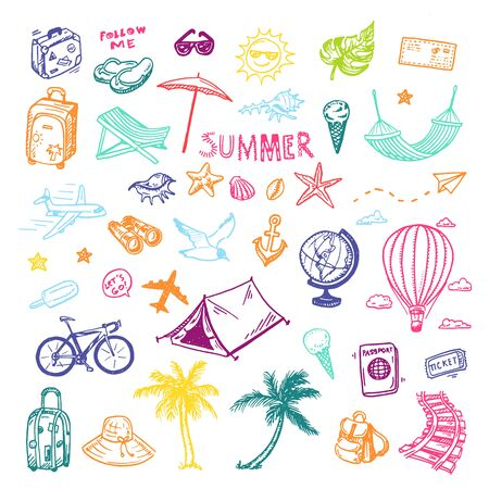 Hand drawn summer holiday, vacation icons set. Doodle Travel collection. Иллюстрация