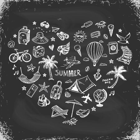 Hand drawn summer holiday, vacation icons set, Heart shape composition on a blackboard. Doodle Travel collection.