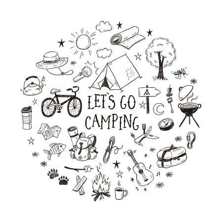 Lets go camping vector illustration with hand drawn camp doodles. Touristic equipment, live on nature concept.