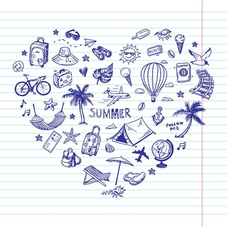 Hand drawn summer holiday, vacation icons set. Doodle Travel collection. 矢量图像
