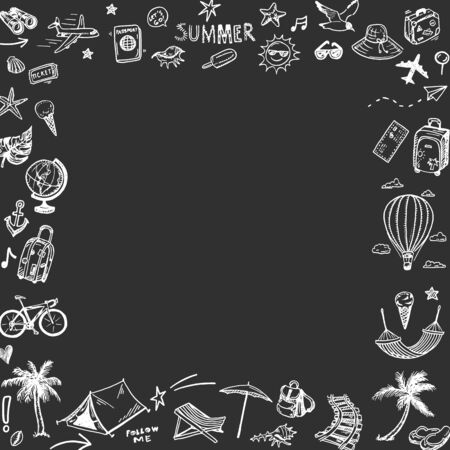 Hand drawn summer holiday, vacation icons square frame on a blackboard. Doodle Travel collection.