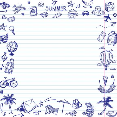 Hand drawn summer holiday, vacation icons frame. Doodle Travel collection.