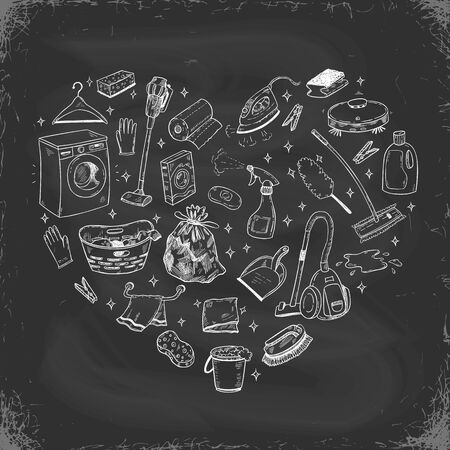 Vector doodle illustration of cleaning equipment in a heart shape on a blackboard background