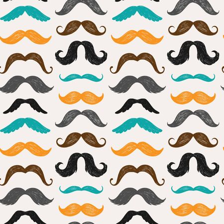 Vector seamless pattern with mustache silhouettes. Ideal for cards, invitations, baby shower, party, kindergarten, children room decoration. 矢量图像