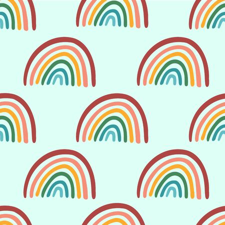 Seamless childish vector pattern with hand drawn rainbows. Creative scandinavian kids texture for fabric, wrapping, textile, wallpaper, apparel.