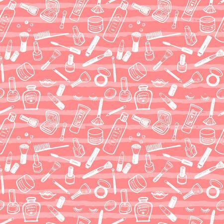 Doodle make up, fashion, beauty and cosmetics pattern. Seamless vector background for your design.