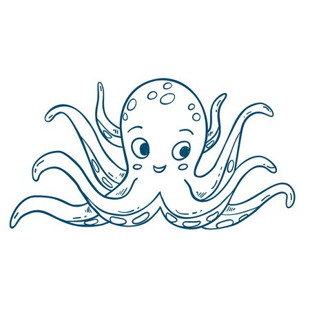 Outlined octopus illstration, hand drawn isolated vector sketch
