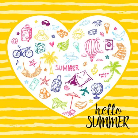 Hello summer card with hand drawn holiday, vacation, travel doodles in a shape of heart 矢量图像