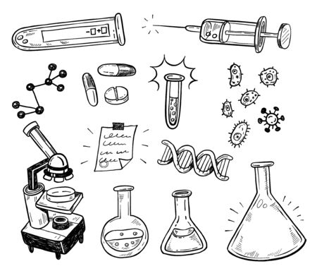 Biotechnology doodles. Scientific doodle style icons set. Logos for pharmacy, science, medicine, technology, education and health. Isolated hand drawn vector illustration.