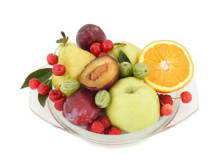 Fruit and berries lay on a glass plate Stock Photo - 3994462